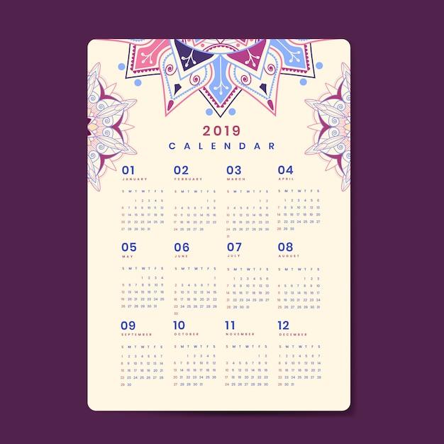 Maquette de calendrier mandala Vecteur gratuit