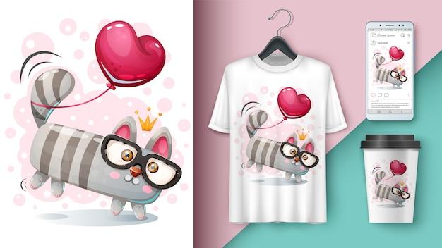 Maquette de chat et ballon pour votre idée Vecteur Premium