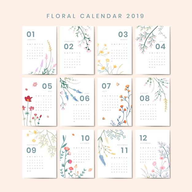 Maquette du calendrier floral Vecteur gratuit