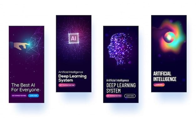 Maquette d'écran de démarrage pour l'apprentissage du concept ai ou ui. Vecteur Premium