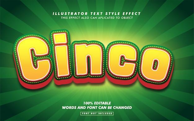 Maquette D'effet De Style De Texte Cinco De Mayo Vecteur Premium