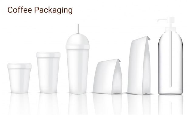 Maquette emballage de café réaliste avec verre, tasse, sac et bouteille sur fond blanc Vecteur Premium