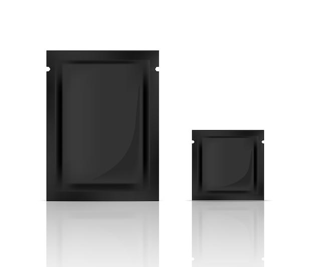 Maquette d'emballage de soins de la peau noir réaliste Vecteur Premium