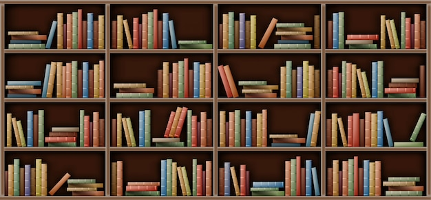 Maquette D'étagère Blanche, Livres Sur étagère En Bibliothèque Vecteur gratuit