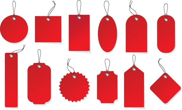 Maquette d'étiquettes en papier rouge réaliste suspendu. étiquette de prix dans différentes formes. Vecteur Premium