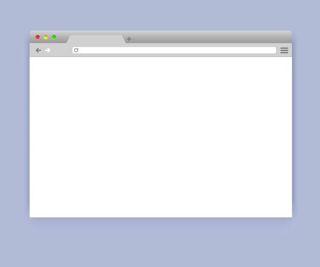 Maquette de fenêtre de navigateur vierge simple Vecteur Premium