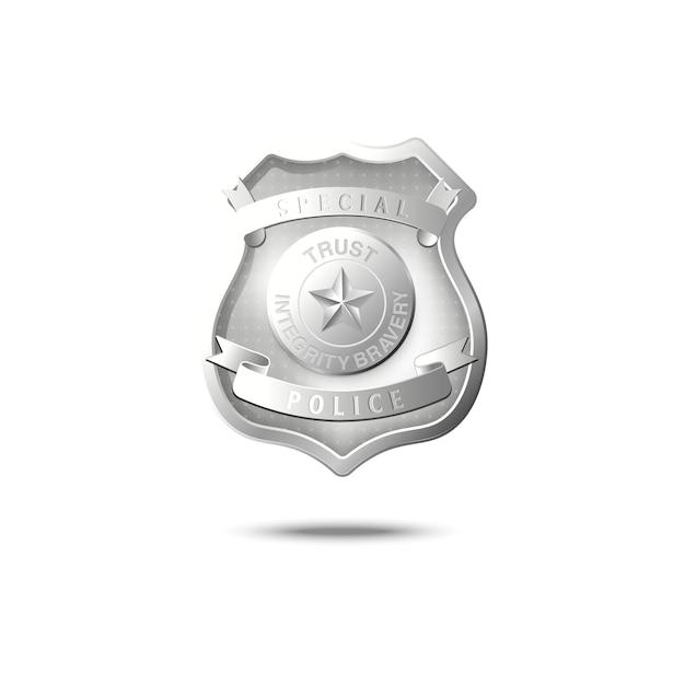 Maquette D'insigne De Police En Argent Flottant Dans L'air Vecteur Premium