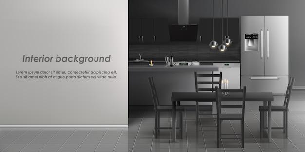 Maquette de l'intérieur de la cuisine avec des appareils ménagers Vecteur gratuit