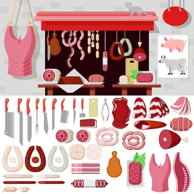 Maquette De Kit D'objets De Style Plat Boucherie. Icon Set Outils De Produits Carnés Pour Construire La Boucherie. Collection De Kits. Vecteur gratuit