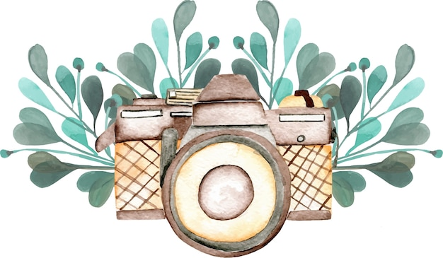 Maquette de logo avec caméra aquarelle et éléments floraux Vecteur Premium