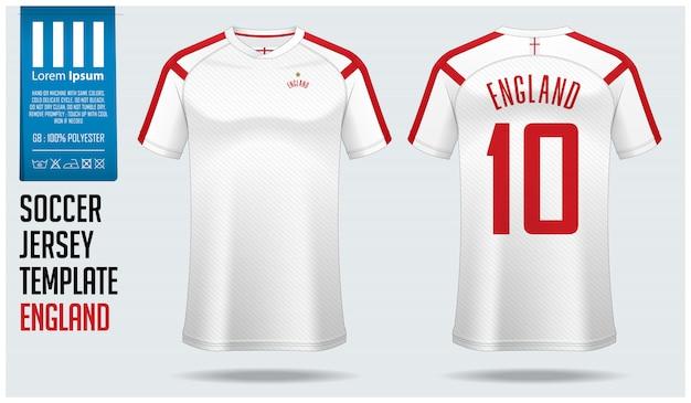 Maquette de maillot de football angleterre ou modèle de kit de football. Vecteur Premium