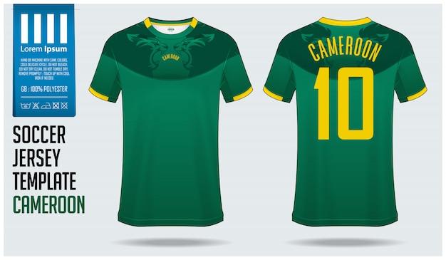 Maquette de maillot de football cameroun ou modèle de kit de football. Vecteur Premium