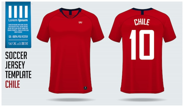 Maquette de maillot de football chili ou modèle de kit de football. Vecteur Premium