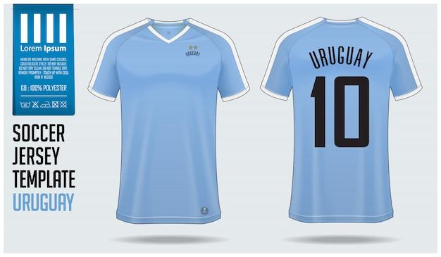 Maquette de maillot de football uruguay ou modèle de kit de football Vecteur Premium