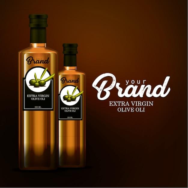Maquette modèle bouteille d'huile Vecteur Premium