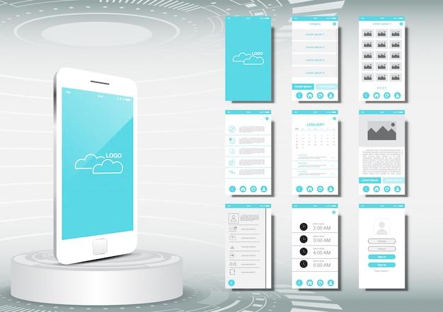 Maquette de modèle d'ui, ux pour mobile Vecteur Premium