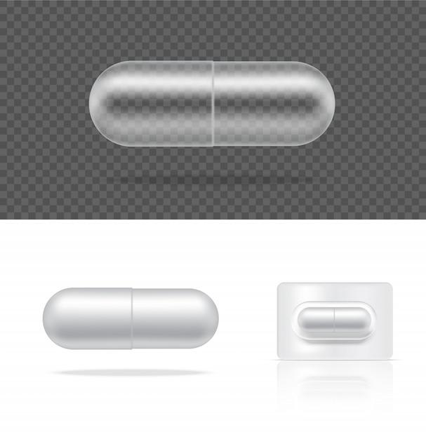 Maquette panneau de capsule de médecine pilule transparente réaliste sur fond blanc. Vecteur Premium