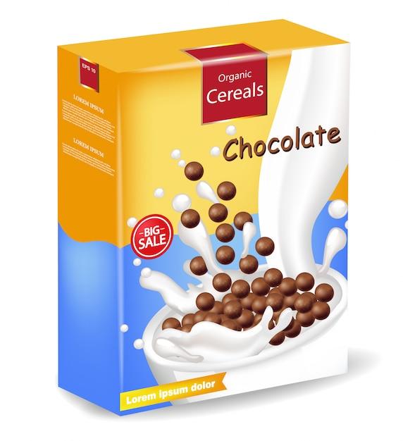 Maquette de paquet de céréales au chocolat bio Vecteur Premium