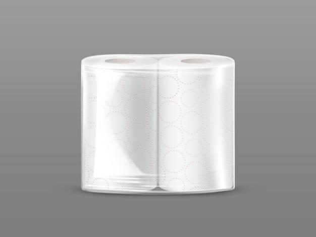 Maquette de paquet de papier essuie-tout avec emballage transparent isolé sur fond gris. Vecteur gratuit