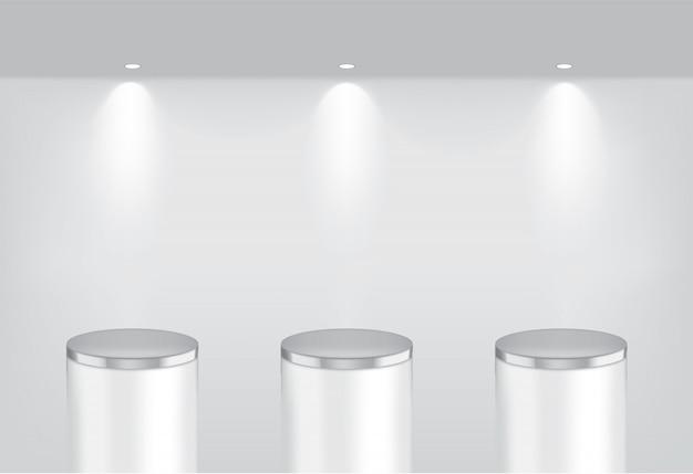 Maquette réaliste étagères métalliques vides Vecteur Premium