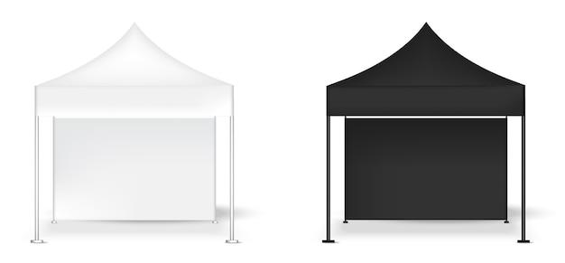 Maquette réaliste d'exposition de cabine de pop de mur d'affichage de tente 3d Vecteur Premium