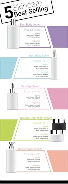 Maquette réaliste de la meilleure bouteille de produit de beauté pour le soin de la peau Vecteur Premium
