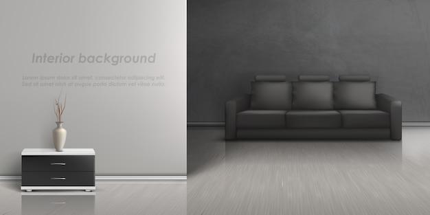 Maquette réaliste de salon vide avec canapé noir, table de chevet avec vase Vecteur gratuit