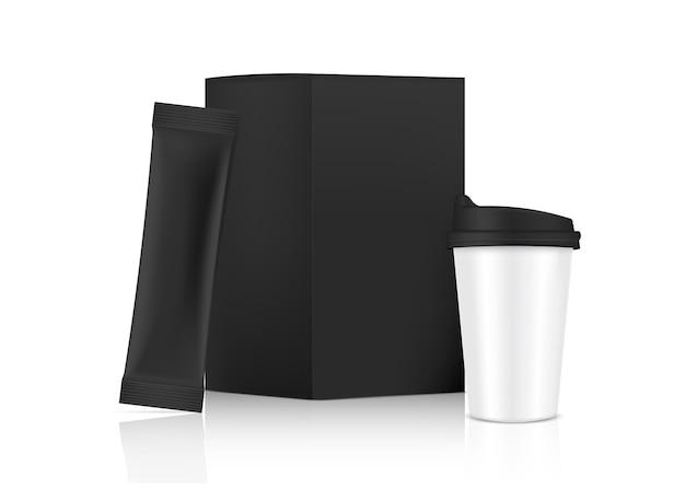 Maquette De Sachet 3d Glossy Stick Et Tasse Avec Boîte En Papier Isolé Sur Fond Blanc. . Conception De Concept D'emballage Alimentaire Et Boisson. Vecteur Premium