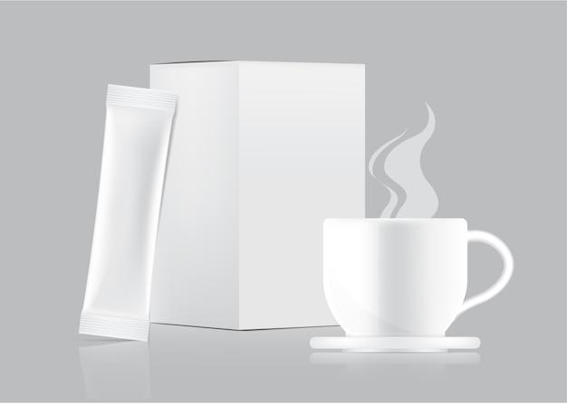 Maquette De Sachet 3d Glossy Stick Et Tasse Avec Boîte En Papier Isolée. Vecteur Premium