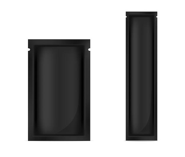 Maquette sachet de papier noir réaliste pour l'emballage alimentaire Vecteur Premium