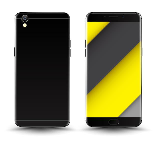 Maquette de smartphone avant et arrière. Vecteur Premium