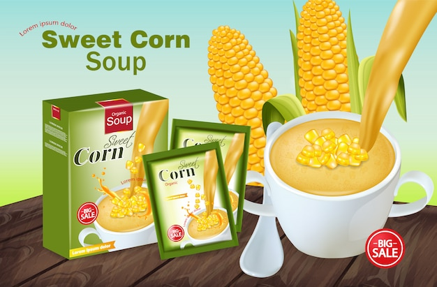 Maquette de soupe de maïs sucrée Vecteur Premium