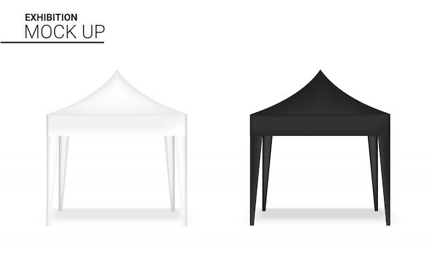 Maquette de stand réaliste de stand d'affichage de tente de vente au détail pour l'exposition de promotion de vente de vente. Vecteur Premium
