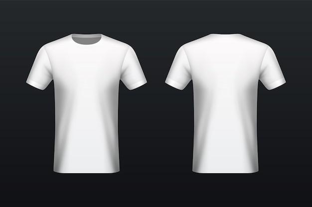 Maquette t-shirt blanche devant et derrière Vecteur Premium
