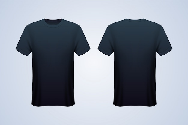 Maquette T-shirt Noir Devant Et Dos Vecteur Premium