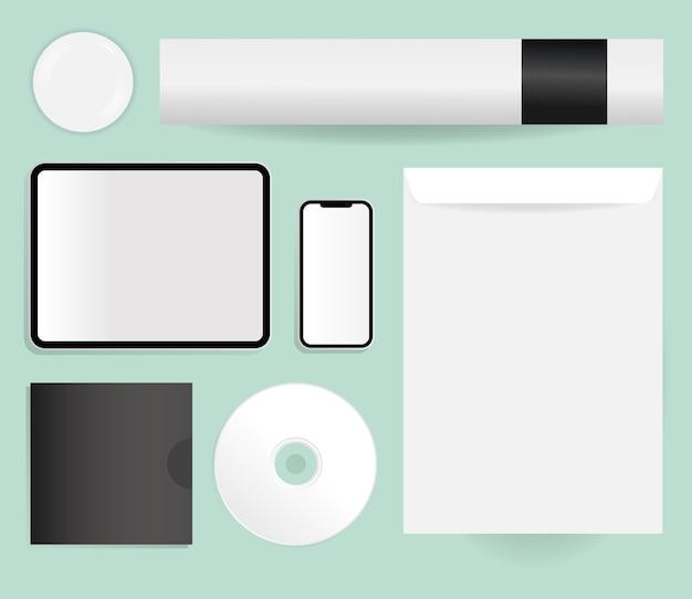 Maquette De Tablette Smartphone Cd Et Conception D'enveloppe Du Modèle D'identité D'entreprise Et Du Thème De Marque Vecteur Premium