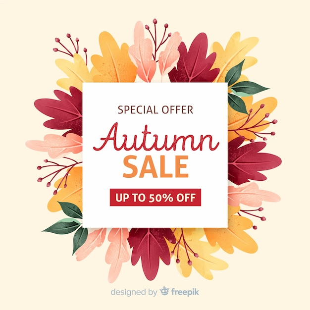 Maquette de vente d'automne avec feuillage séché Vecteur gratuit