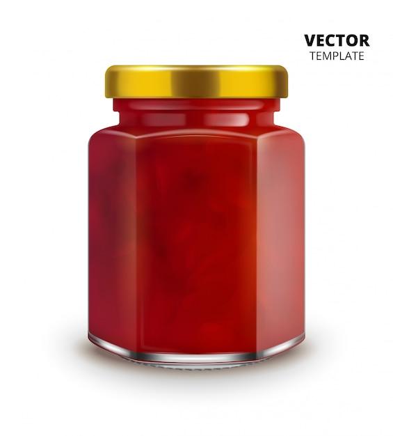 Maquette de verre pot de confiture isolée Vecteur Premium
