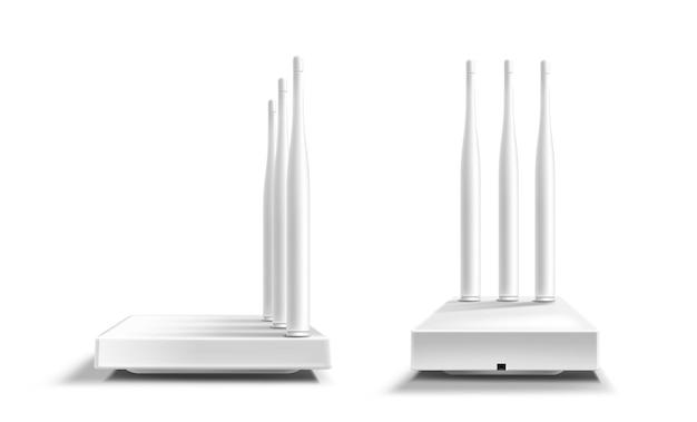 Maquette De Vue Avant Et Latérale Du Routeur Wifi Vecteur gratuit