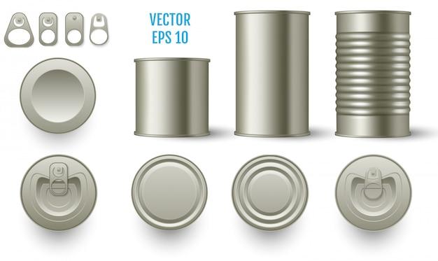 Maquettes de boîtes de conserve cylindriques réalistes Vecteur Premium