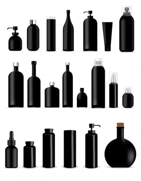 Maquettes de bouteilles noires réalistes pour l'emballage de produits de soin de la peau Vecteur Premium