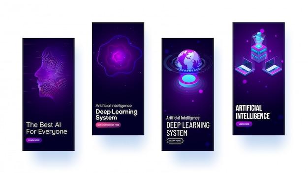 Maquettes d'écran d'accueil mobiles Vecteur Premium