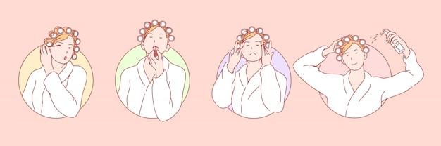 Maquillage, Beauté, Cosmétologie Set Illustration Vecteur Premium