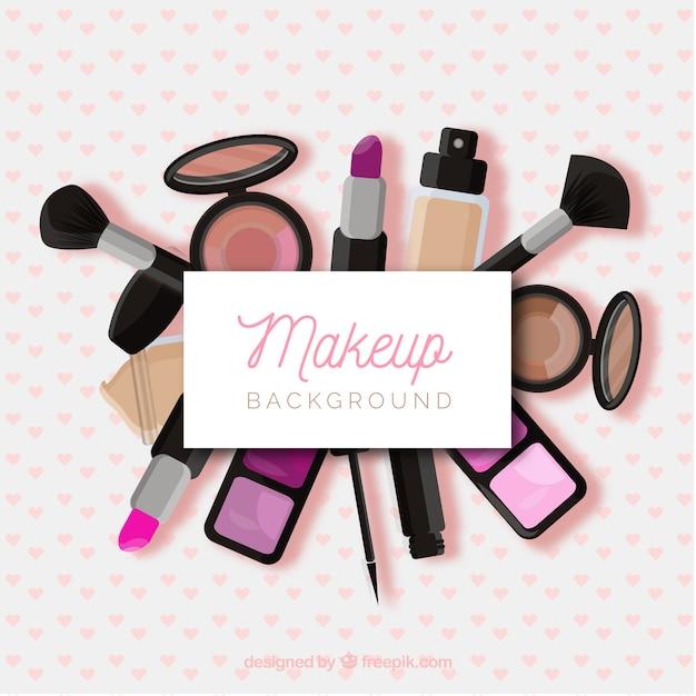 Maquillage de fond avec des cosmétiques réalistes Vecteur gratuit