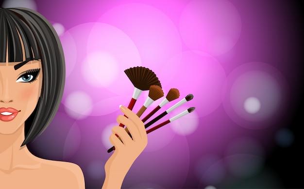 Maquillage de fond Vecteur Premium