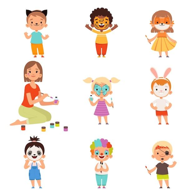 Maquillage Pour Enfants. Dessin D'animateur Et Jouant Avec Des Costumes De Fête Pour Enfants Vecteur Premium