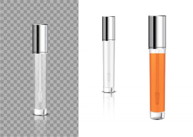Maquillage réaliste bouteille cosmétique brillant à lèvres Vecteur Premium