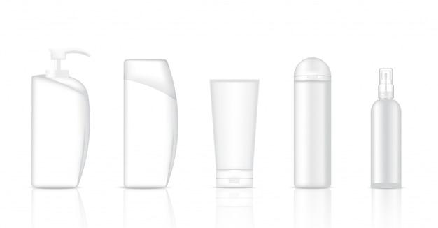 Maquillage de savon cosmétique blanc réaliste, shampooing et spray Vecteur Premium