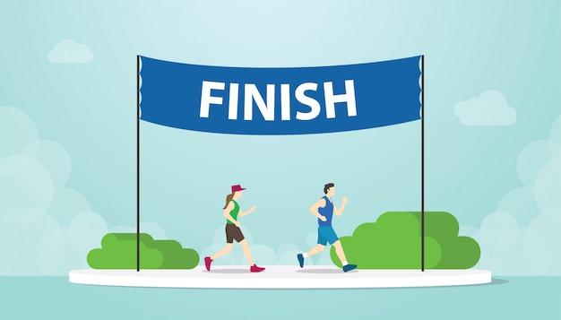 Marathon courir avec les hommes et la femme qui court sur la bannière de finition avec un style plat moderne - vecteur Vecteur Premium