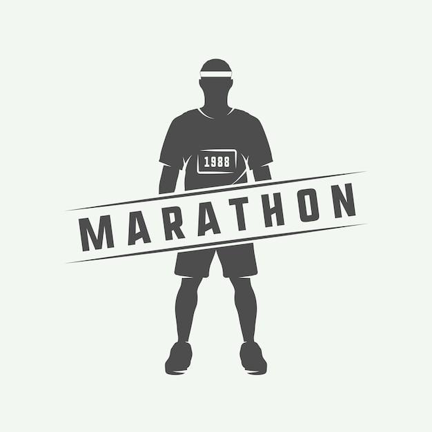 Marathon ou course logo Vecteur Premium